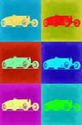 Old Mixed Media Metal Prints - Bugatti Type 35 R Pop Art 2 Metal Print by Irina  March
