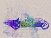 Classic Car Drawings Posters - Bugatti Type 35 R Watercolor 2 Poster by Irina  March