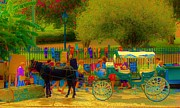 Horse And Buggy Posters - Buggy and Artist on Jackson Square Poster by Margaret Bobb