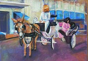 Street Pastels Originals - Buggy on Bourbon Street by Beverly Boulet