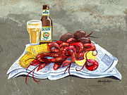 Crawfish Painting Posters - Bugs and Beer Poster by Elaine Hodges