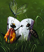 Kids Books Prints - Bugs Read Print by Barbara Hranilovich