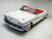 Car Posters Posters - Buick Limited Convertible 1958 Poster by Sanely Great
