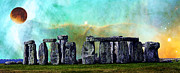 Stonehenge Framed Prints - Building A Mystery 2 - Stonehenge Art By Sharon Cummings Framed Print by Sharon Cummings