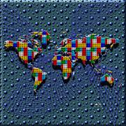 Global Map Mixed Media - Building Blocks Of The World by Mr Ds Abstract Adventures
