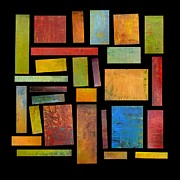 Abstracted Digital Art Prints - Building Blocks Three Print by Michelle Calkins