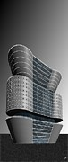 Perspective Digital Art - Building in Gray by Ron Bissett