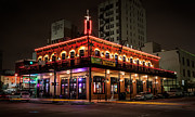 Commercial Photography Originals - Building In Neon by Connie Anderson