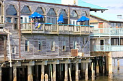 Cedar Key Prints - Building on Piles Above Water Print by Lorna Maza
