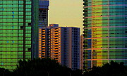 Ranjini Kandasamy Prints - Buildings at Sunset Print by Ranjini Kandasamy