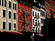 New York City Fire Escapes Photos - Buildings of Color by C Ray