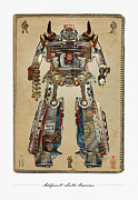 Mopar Metal Prints - Built American Tough Robot No.2 Metal Print by Jeff Steed