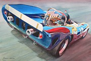 Watercolor Sports Art Paintings - Built To Race by Robert Hooper
