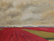 Netherlands Paintings - Bulb fields near Egmond aan den Hoef in the Netherlands by Ernst Dingemans