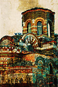 Byzantine Digital Art Metal Prints - Bulgaria - Nessebar Metal Print by Donika Nikova - ShaynART