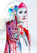 National Mixed Media Metal Prints - Bulgarian national costume Metal Print by Slaveika Aladjova