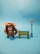 Animal Sculpture Mixed Media Posters - Bull at bus stop Poster by Tristan Klein