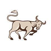 Bull Charging Side Cartoon Print by Aloysius Patrimonio