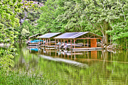 Artistic Digital Art Posters - Bull Creek Boat Houses Poster by Linda Phelps