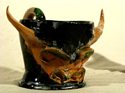Handmade Ceramics - Bull Cup by Troy Howard