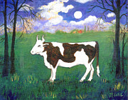 Farm Animal Framed Prints - Bull in Moonlight Framed Print by Linda Mears