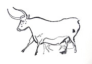 Bulls Drawings Originals - Bull Line Drawing by Melinda Saminski