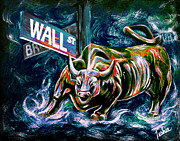 Stock Market Painting Posters - Bull Market Night Poster by Teshia Art