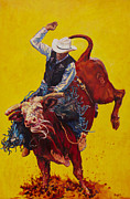 Rodeo Paintings - Bull Market by Patricia A Griffin