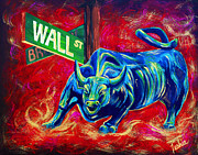 Abstract Bull Painting Posters - Bull Market Poster by Teshia Art