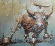 Animals Tapestries Textiles Originals - Bull Market Y by John Henne