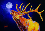 Montana Wildlife Paintings - Bull Moon by TeshiaArt