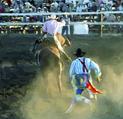Bull Riding Posters - BULL RIDER and BULLFIGHTER at the RODEO Poster by Daniel Hagerman