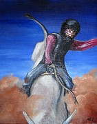 Macho Paintings - Bull Rider by MaryEllen Frazee