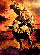 Bull Riding Paintings - Bull Rider by Tim  Joyner