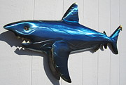 Summer Sculpture Prints - Bull Shark metal wall sculpture Print by Robert Blackwell
