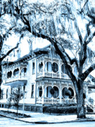 The Houses Prints - BULL STREET HOUSE Savannah GA Print by William Dey