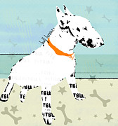 Pitbull Mixed Media Posters - Bull Terrier  Poster by Brian Buckley