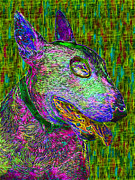Puppies Digital Art Metal Prints - Bull Terrier Dog Pop Art - 20130121v3 Metal Print by Wingsdomain Art and Photography