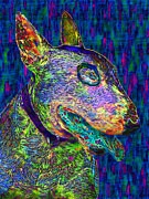 Cute Dogs Digital Art Prints - Bull Terrier Dog Pop Art - 20130121v4 Print by Wingsdomain Art and Photography