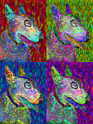 Guard Dog Posters - Bull Terrier Dog Pop Art Four - 20130121 Poster by Wingsdomain Art and Photography