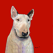 Bull Terrier Paintings - Bull Terrier On Red by Dale Moses