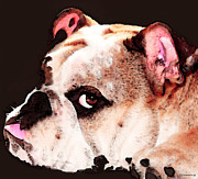 Dog Prints Art - Bulldog Art - Lets Play by Sharon Cummings