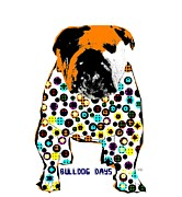 Drawings Of Dogs Framed Prints - Bulldog Days Spots  Framed Print by Brian Buckley