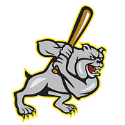Bulldog Digital Art Posters - Bulldog Dog Baseball Hitter Batting Cartoon Poster by Aloysius Patrimonio