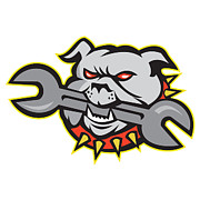 Bulldog Digital Art - Bulldog Dog Spanner Head Mascot by Aloysius Patrimonio