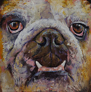 Abstract Dogs Paintings - Bulldog by Michael Creese