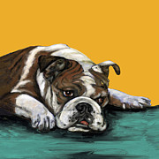 Bulldog Paintings - Bulldog On Yellow by Dale Moses
