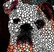 Game Digital Art Framed Prints - Bulldog Stone Rockd Art By Sharon Cummings Framed Print by Sharon Cummings