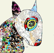 Abstract Of Dogs Mixed Media - Bulldog Terrier Comic  by Brian Buckley