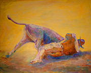 Steer Paintings - Bulldogging... it aint for Sissies. by Dee Wright Wimmer
